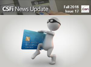 Fall 2018 Issue 17 Newsletter Cover- thief with cedit card cartoon
